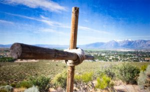 Cross overlooking Minden with Job's peak in background