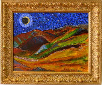 painting of moonlit foothills