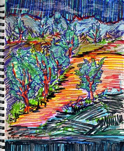 marker sketch of the valley with trees