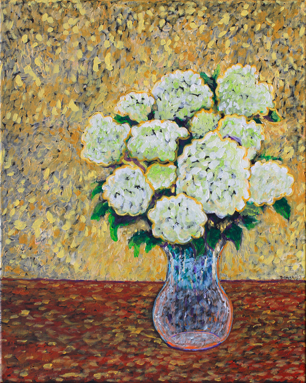 painting of a white hydrangea on a yellow background