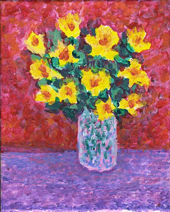 Yellow flowers with red and purple