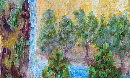 Vision of waterfall, pool and trees
